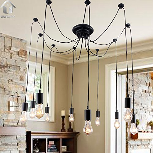 Antique chandeliers amazon unitary brand antique black large barn chandelier with 10 lights painted finish bulbs included aloadofball