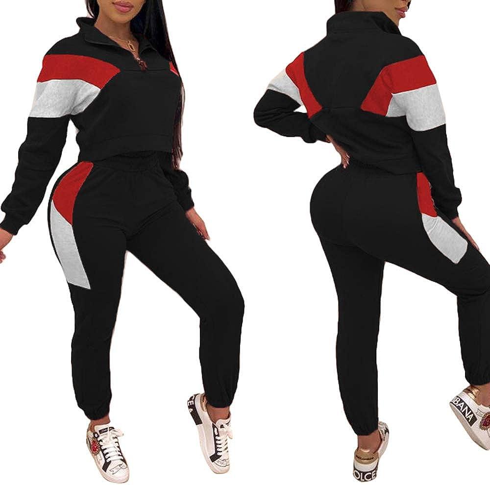 Women Color Block Long Sleeve Suit Sport Wear Casual Outfit Crop Tops+Long Pants