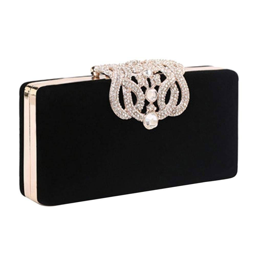 Velour Beads Box Evening Clutch Handbag, Soft Surface Hard Case Acrylic Clutch Purse Bag, Fashion Clutch Evening Bag for Prom Ball Shopping Formal Party Club (Black) by SIMANLI (Image #1)