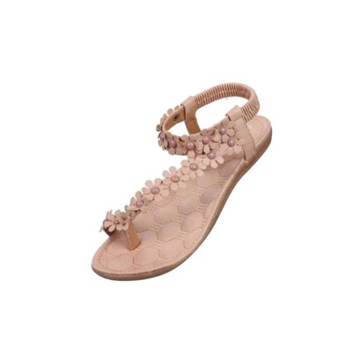 Sandalen Damen Sommer Elegant Bouml;hmen Blumen-Perlen Flip-Flop Schuhe Flache Sandalen Schuhe Mode Strandschuhe Zehentrenner Pantoletten Riemchensandalen  39 EU|A