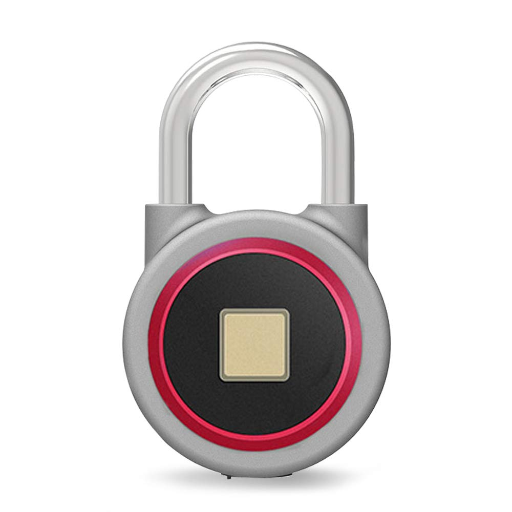 Fingerprint Bluetooth Padlock,Chargeable Wireless Quick Access Keyless Padlock IP65 Waterproof for Indoor and Outdoor Use - Red