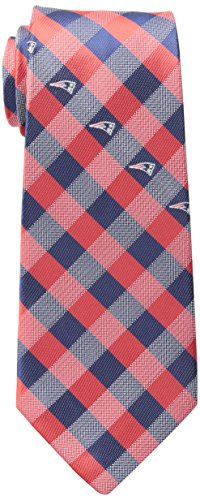 NFL New England Patriots Men's Woven Polyester Check Necktie, One Size, Multicolor