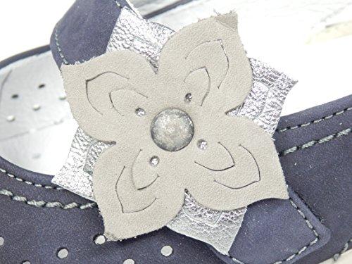Ara Slipper Klettslipper Blau Leder Blume Weite H