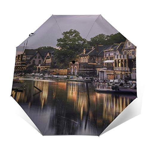 Philadelphia Boat House Row Philly Reflection Automatic Umbrella Auto Open Close Folding Windproof Foldable For Men Women Kids (Best Reflections Window Tinting)