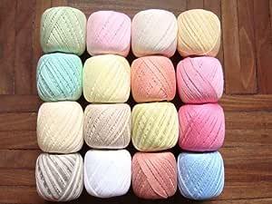 Lote de 16 ovillos de hilo de algodon en tonos claros y pasteles ...