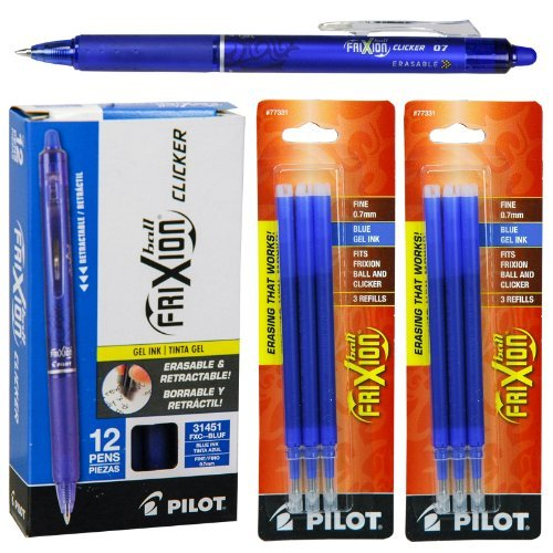 - Pilot FriXion Clicker Retractable Gel Ink Pens, Eraseable, Fine Point 0.7mm, Blue Ink, Pack of 12 with Bonus 2 Packs of Refills