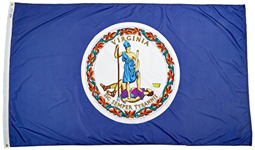 Annin Flagmakers Model 145680 Virginia State Flag Nylon SolarGuard NYL-Glo, 5x8', 100% Made in USA to Official Design Specifications ()