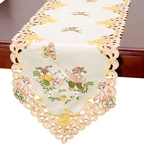 Grelucgo Beige Easter Bunny Table Linen, Runners 15x36 Inches