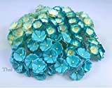 100 pcs. Blossom Flower Blue Tone Mulberry Paper Flower 20-25 mm Scrapbooking Wedding Doll House Supplies Card by' Thai Decorated