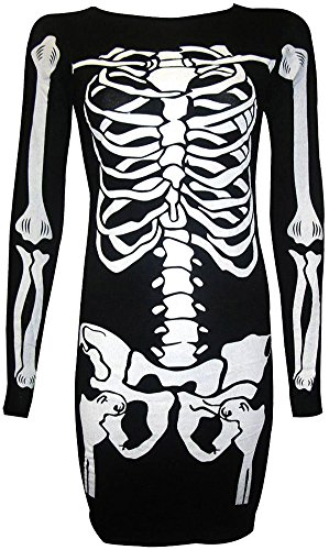 Halloween Pumpkin Dress Longsleeve Women Club Wear Bodycon Swing Mid Scary Costumes Black Skeletons (Scary Woman Halloween Costume)