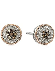 14k Rose Gold Plated Sterling Silver Champagne and White Diamond (1/4cttw, I-J Color, I2-I3 Clarity) Earrings