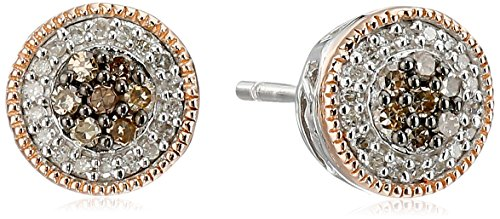 14K Rose Gold over Sterling Silver Chamange and White Diamond Cluster Stud Earrings (1/4 (Best Amazon Curated Collection Diamond Necklaces)