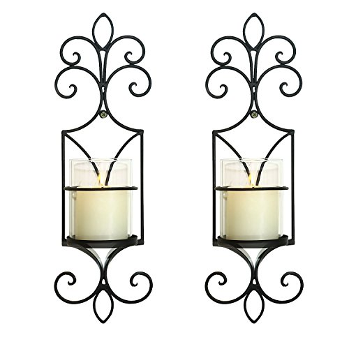 Homebeez Deorative Iron Vertical Candle Holder Sconce (Set of Two),Black Color With Antique Finish