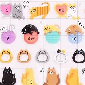 Pegatinas nota calendario agenda gracioso gato huella pez