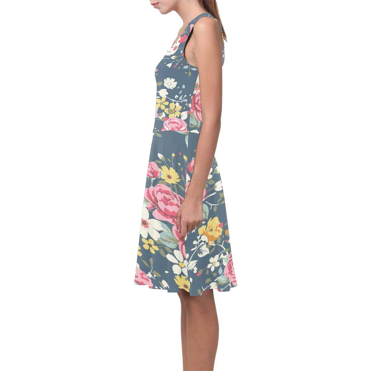 XS-3XL InterestPrint Womens Casual Tank Dresses Vintage Rose Pattern Sleeveless Swing Sundress
