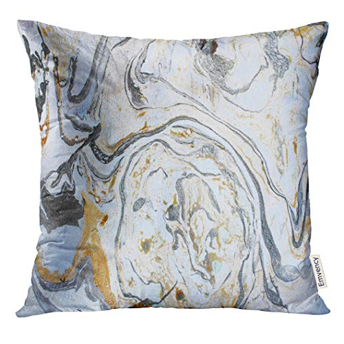 Emvency Throw Pillow Cover Watercolor Abstract Marbling Ink Hand Acrylic Black White Gold Silver and Gray Colors Artwork Water Paint Decorative Pillow Case Home Decor Square 18x18 Inches Pillowcase