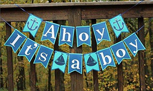 Elfun(TM) Anchor Sailor Themed Ahoy It Is A Boy Banner Baby Shower Party Deco... (Sailor Decorations)