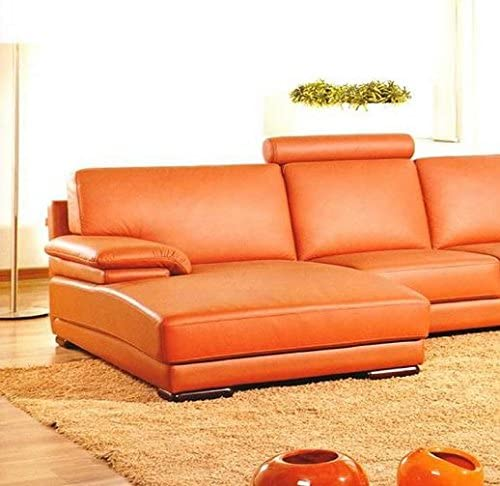 Contemporary Orange Leather Sectional Sofa