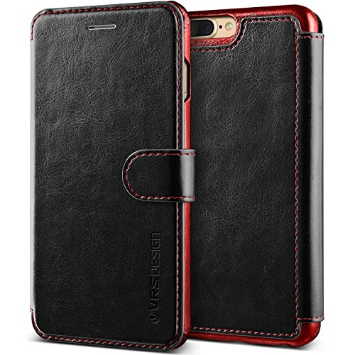 iPhone 8 Plus Case, VRS DESIGN Drop Protection Cover Classy Slim Premium PU Leather Wallet [Black] ID Credit Card Slot Holder for Apple iPhone 8 Plus [Layered Dandy] (Design Leather Slim Pu)