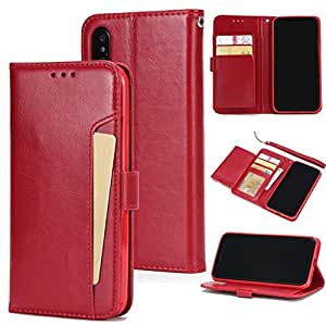 Darin Case Cover for Samsung Galaxy S7 Edge, PU Leather Folio Flip Wallet Case with ID&Credit Card Pockets and Wrist Strap for Samsung Galaxy S7 Edge (Samsung Galaxy S7 Edge, Red)