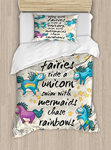 Ambesonne Cartoon Duvet Cover Set, Mythical Unicorns with Stars and Rainbow Creature Kids Theme Print, Decorative 2 Piece Bedding Set with 1 Pillow Sham, Twin Size, Beige Teal