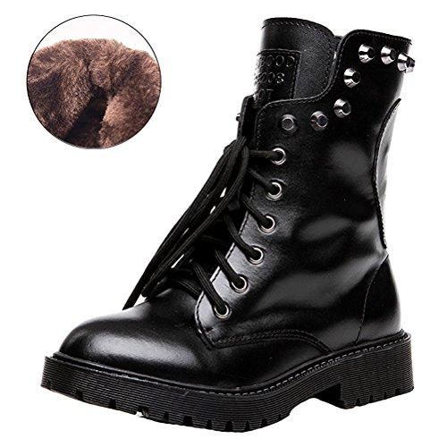 Noir À Ubeauty Chaussures Flattie Velours Bottines Bottes Rivet Classiques Lacets Martin Boots Femme Sport vqwvR74