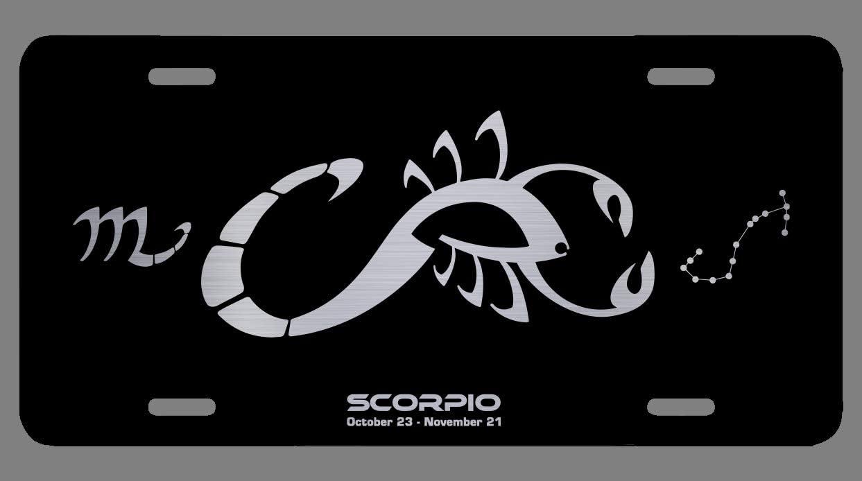 OGO Zodiac Laser Etched Metal License Plate Gift Astrology Constellation Horoscope Astrological Aries Taurus Gemini Cancer Leo Virgo Libra Scorpio Sagittarius Capricorn Aquarius Pisces Gifts Sagittarius