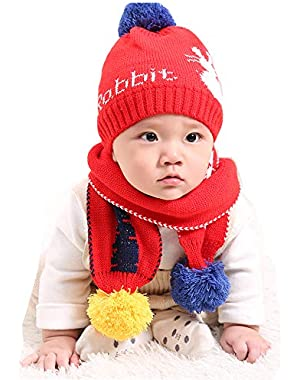 Baby/Kid/Child Boys Girls Winter Hat Scarf 3-18 Months Soft Knitted Beanie & Scarf Neck Warmers Suit