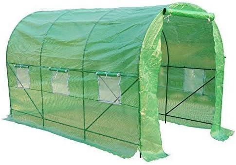 Outsunny Invernadero de Jardín para Cultivo de Plantas Tunel Invernadero Huerto Color Verde Acero Polietileno PE 350 x 200 x 200 cm