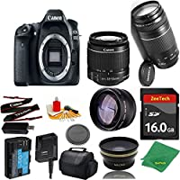 Great Value Bundle for 80D DSLR – 18-55mm STM + 75-300mm III + 16GB Memory + Wide Angle + Telephoto Lens + Case