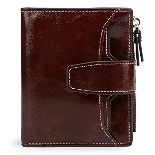 AINIMOER Women's RFID Blocking Leather Small Compact Bi-fold Zipper Pocket Wallet Card Case Purse (Waxed Coffee)
