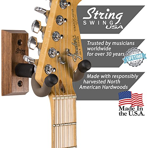 Large Product Image of String Swing CC01K-BW Guitar Hanger and Guitar Wall Mount Bracket Holder for Acoustic and Electric Guitars Black Walnut