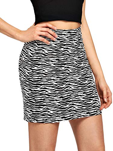 Verdusa Women's Zebra Print Denim A-Line Short Bodycon Pencil Skirt White S
