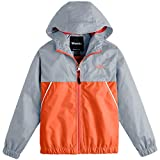 Wantdo Boy's Lightweight Rain Jacket Camping Hiking Windproof Mesh Lined Raincoat Hooded Windbreaker