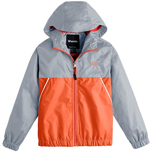 Wantdo Boy's Ultra Light Rain Jacket Outdoor Windcheater Zipped Hoodies For Running(Grey+Lily Orange Yellow, 10/12)