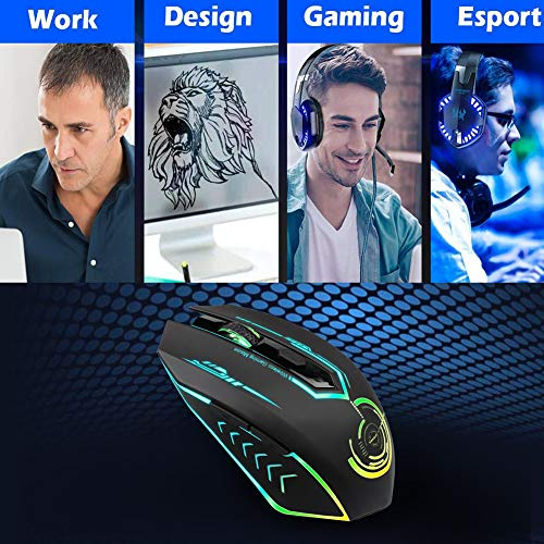 17bc80b39da Wireless Gaming Mouse Up to 7200 DPI, UHURU Rechargeable USB Mouse with 6  Buttons 7 Changeable LED Color Ergonomic Programmable MMO RPG for PC  Computer ...