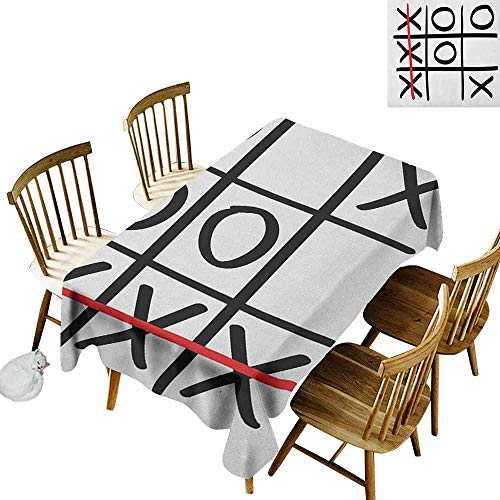 DONEECKL Xo Durable Tablecloth Washed Popular Tic Tac Toe Game Pattern Hand Drawn Design Win Victory Finish Theme Vermilion Black White W60 xL102