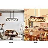 XIPUDA 5-Light Linear Pendant Light Fixture Kitchen Island Lighting Antique Industrial Metal Farmhouse Chandeliers