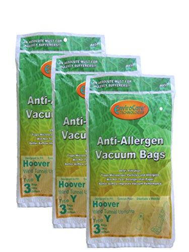 9 Hoover HEPA Allergy Type Y Bags, WindTunnel Upright Vacuum Cleaners, 43655109, 4010100Y, 4010801Y, AH10060DT,AH10040CLP,902419001, Royal, Gold Star, Pacific Steamex -