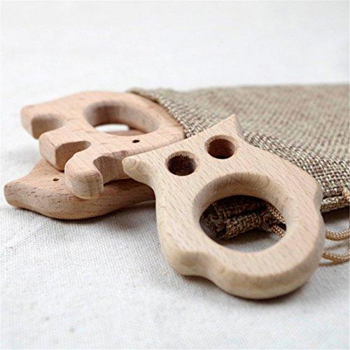 Set of 4pc Wooden Teethers Handmade Wooden Elephant Teether Fish Bird Owl Teethers Beech Wood Pendant