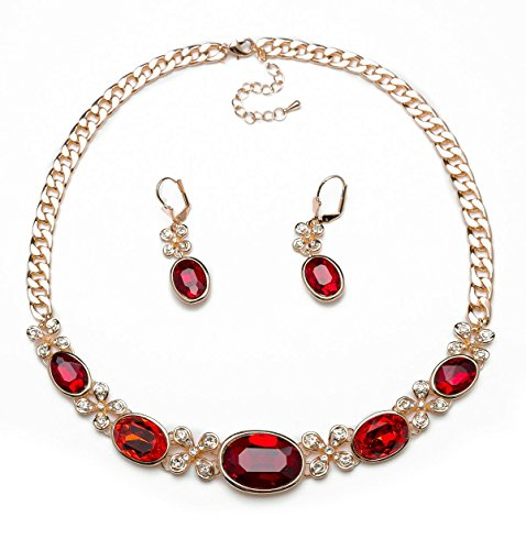ABAIHSMOON Necklace and Earrings Jewelry Set, Crystal and Artificial Diamonds Design of Bridal Jewelry for Wedding/Dance/Most Events/Gifts by ABAIHSMOON