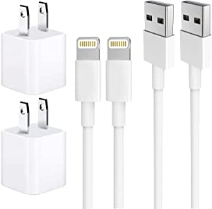 iPhone Charger, MFi Certified Charging Cable, Travel Wall Power Adapter, [2-Pack] USB Data Charge Sync Cable Compatible with iPhone X/8 Plus/7 Plus/6s/6 Plus/6s Plus/5/5s/5c/XS/XR/XS Max/iPad/iPod