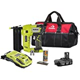 Ryobi P320 AirStrike 18 Volt One+ Lithium Ion Coordless Brad Nailer Bundle with Charger, Battery, 18 inch Tool Bag and Bostich 2 inch Brad Nails