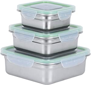 304 Stainless Steel Food Storage Containers with Lids - Lunch Containers LeakProof Set of 3 Eco-Friendly Stackable Bento Box - Lunch Box, Snack Boxes for People, Kitchen Storage - Green