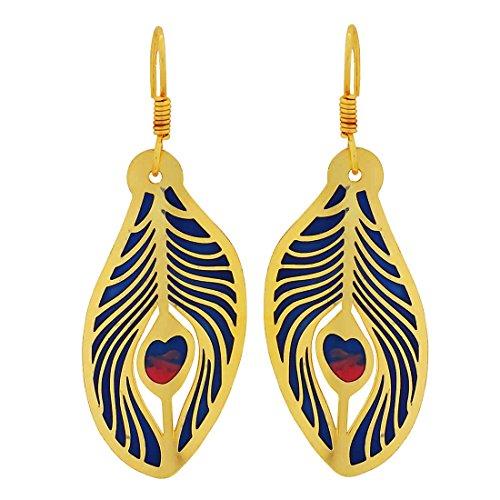 Maayra Krishna Leaf Earrings Blue Dangler Drop Party Jewellery by Maayra