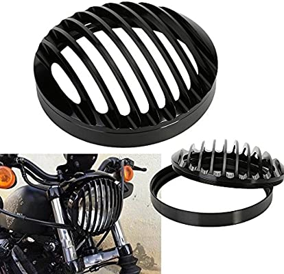 """5 3//4/"""" CNC Black Headlight Grill Cover For Harley Davidson Sportster XL 883 1200"""