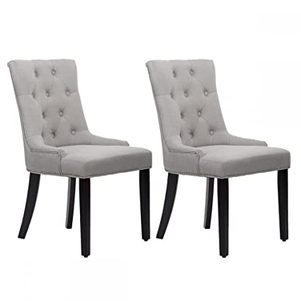 PayLessHere Set Of 2 Grey Elegant Fabric Upholstered Dining Side Chairs W/ Nailhead