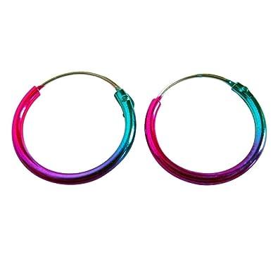 Sterling Silver 925 Anodised Coloured Hoop Sleeper Earrings (12 MM) X3I7gjAu
