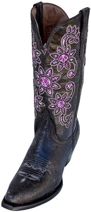 Women Mid Calf Western Cowboy Boots Sunflower Low Block Heel Booties Shoes Size