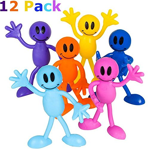 Bendable Smiley Figures – Happy Faces – 12 Pack Assorted Colors -Bendable Toys & Games, Action & Toy Figures, Party Favors And Novelty's – By (Small Action Figures)
